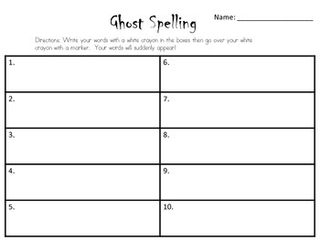 Ghost spelling recording sheet