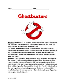 Ghostbusters - movie review - lesson facts information questions word search