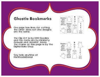 Ghostie Bookmark Freebie