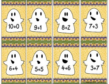 Ghostly Go Fish Addition Facts 0 - 10