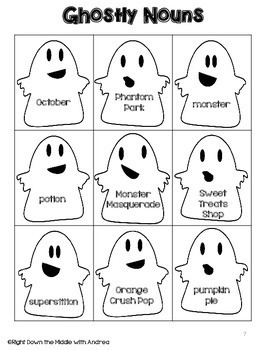 Common Nouns and Proper Nouns {Ghostly Nouns} - Halloween Activity