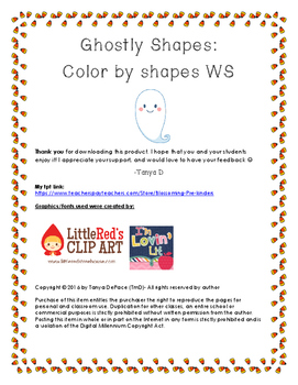 Ghostly Shapes: Color by shape worksheet