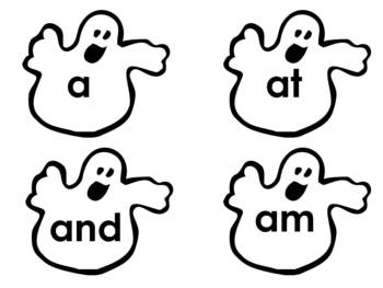 Ghostly Sight Words with number words and color words