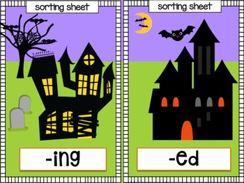 Halloween Sorts for Inflectional Endings GHOSTS