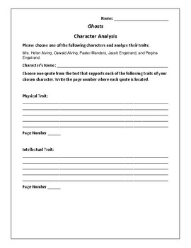 Ghosts - Character Analysis Activity - Henrik Ibsen