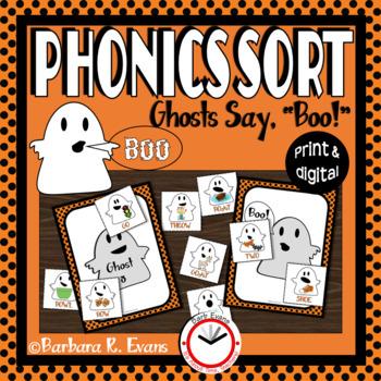 "PHONICS SORT: Ghosts Say, ""Boo!"" Halloween Vowels Vowel Digraphs"