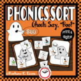 "PHONICS SORT: Ghosts Say, ""Boo!"" Halloween Vowels Vowel Digraphs Literacy Center"