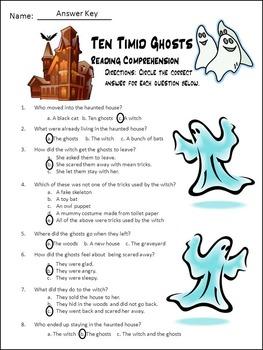 Ghost Activities: Ten Timid Ghosts Activity Packet