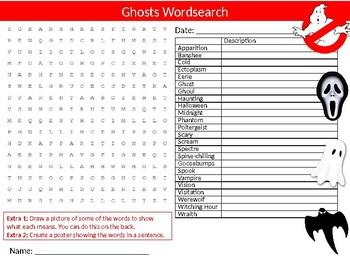 Ghosts Wordsearch Sheet Starter Activity Keywords Myths & Legends