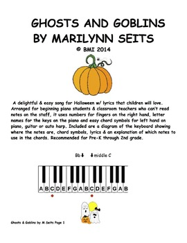 Ghosts and Goblins - Song for Halloween with finger numbers and chord symbols.