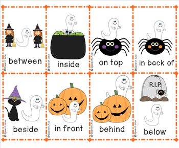 Ghosts in the Graveyard: Halloween Preposition Bingo