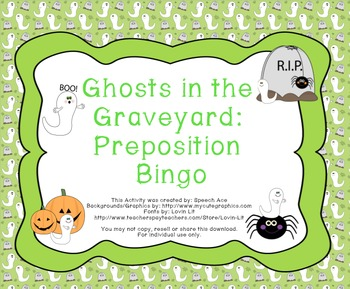Ghosts in the Graveyard: Halloween Preposition Bingo