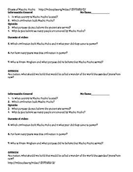 Ghosts of Machu Picchu Questions 1/2 sheet