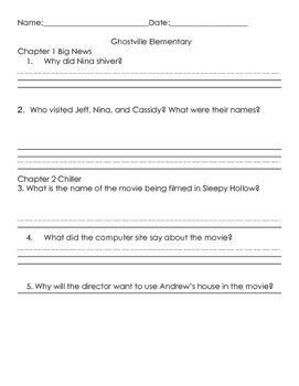 Ghostville Elementary #12 Frights! Camera! Action! Comprehension Packet