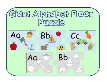 Giant Alphabet Floor Puzzle Color and Black and White