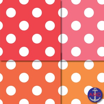 Giant Bright Polka Dot Digital Papers