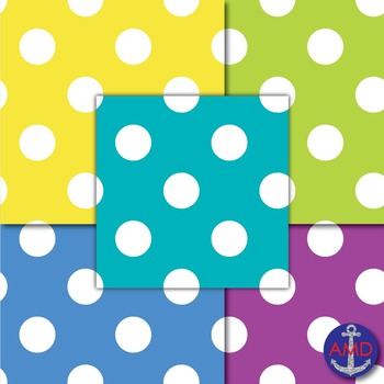 Giant Bright Polka Dot Digital Papers Bundle