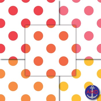 Giant Bright Polka Dot Digital Papers Bundle