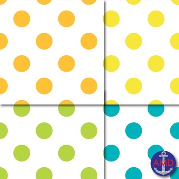 Giant Bright Polka Dot Digital Papers on a White Background