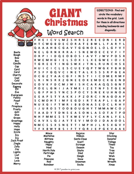 Giant Christmas Word Search Puzzle By Puzzles To Print Tpt