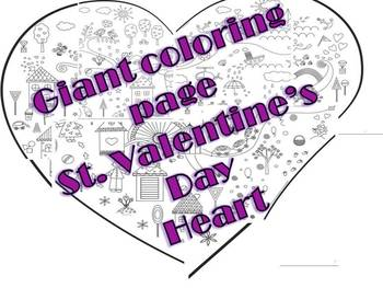 Giant Coloring Page Heart For St Valentine S Day