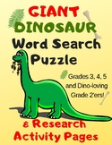 Giant Dinosaur Word Search Puzzle and Research Activity Wo
