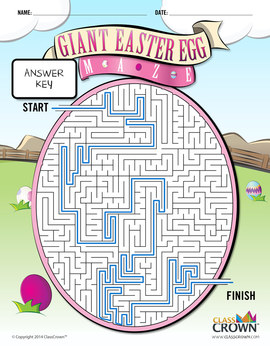 Giant Easter Egg Maze - Puzzles, Games, Mazes, Free - B&W Print Ready
