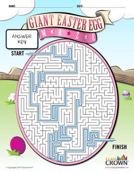 Giant Easter Egg Maze - Puzzles, Games, Mazes, Free - B&W Print Ready