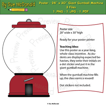 Giant Gumball Machine Poster v.2 – Whole Class – Yearlong -Behavioral Incentive
