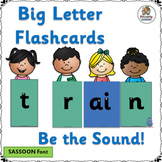 Big Letters & Sound Flashcards support Jolly Phonics | SASSOON Font