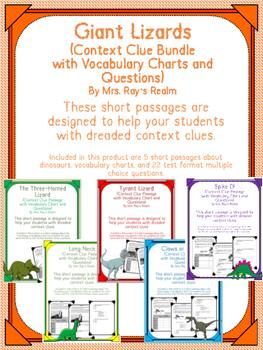 Giant Lizards Context Clue Bundle