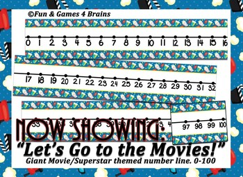 Giant Movies/Super Star Themed number line 0-100