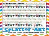 Giant Paint Splatter Art Themed number line 0-100