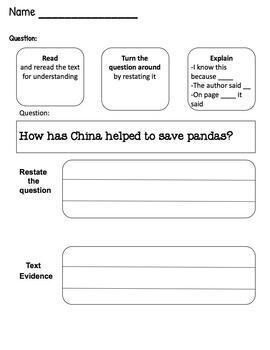 Giant Panda Shared Reading and Questions Finding Text Evidence