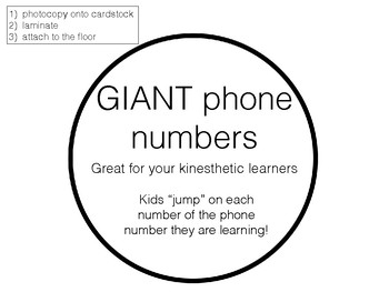 Giant Phone Number Template