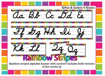 Giant Rainbow Stripe Bright Themed cursive alphabet strip