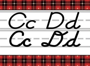 Giant Red and Black Cabin themed D'Nealian print and cursive Alphabet Strip