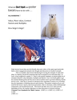 Giant Squid, Polar Bears, Numbers, Place value, Context, Factors, and Multiples