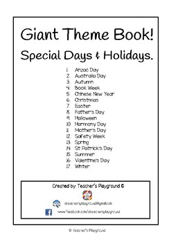 Giant Themed Activity Book for Special Days  & Holidays - Lower Primary
