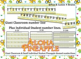 Giant Class Tropical Pineapple Themed number line 0-100 and Student number lines