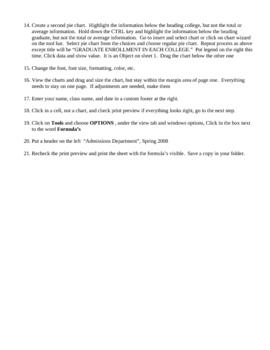 Gibbs University Excel Assignment