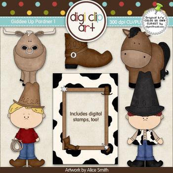 Giddee Up Pardner 1-  Digi Clip Art/Digital Stamps - CU Clip Art