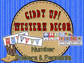 Giddy Up! Western Themed Number Posters & Pennant