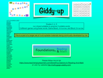 Giddy-up - Closed 3 Syllable (multi syllable) card game for  RTI and small group