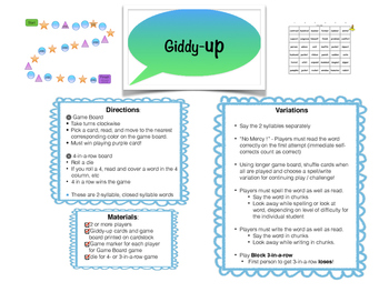 Giddy-up - a Closed 2 Syllable card game for Intervention, small group, and RTI