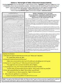 Gideon v Wainwright Supreme Court Case Document Analysis Activity Right-Attorney