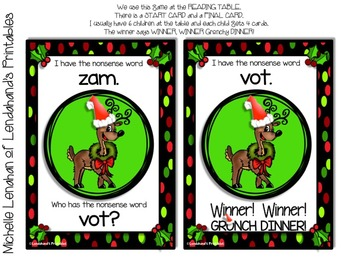 Nonsense Word Fluency I HAVE WHO HAS Game (Red and Green Christmas Theme)