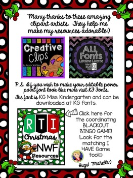 Christmas Nonsense Word Fluency Power Point and Assessment