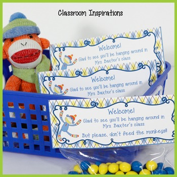 Gift Bag Topper – FREEBIE - Coordinates with Sock Monkey Classroom Theme
