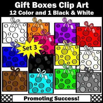 Gift Boxes Clipart, Set 3, Birthday Gifts Clip Art, Commercial Use SPS